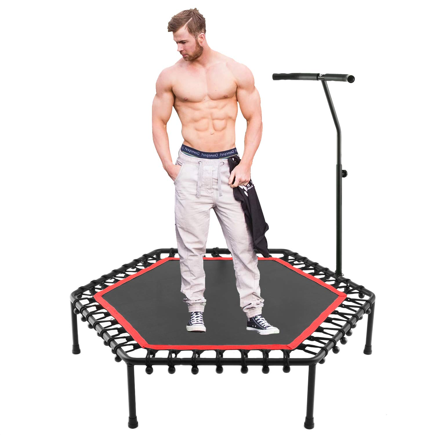 shaofu Small Trampoline Rebounders Fun Trampolines Indoor Max Load 220lbs Rebounder (US Stock) (Red, 38inch - foldable twice)
