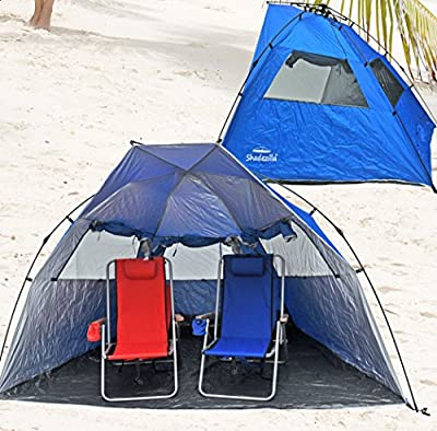 Deluxe Instant PopUp Beach Tent / Shelter / Cabana UPF 100+ with Side Wall