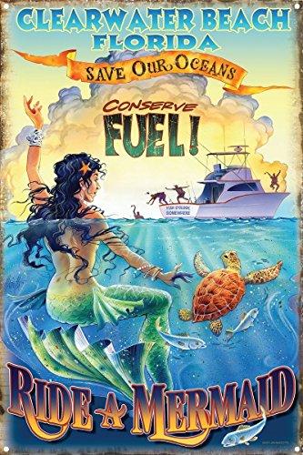 Ride a Mermaid Clearwater Beach Florida Metal Art Print by Jim Mazzotta (12