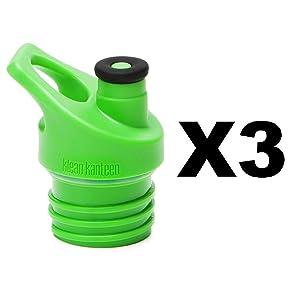 Klean Kanteen Sport Cap 3.0 Replacement Cap - 3 Pack (3 Pack - Green)