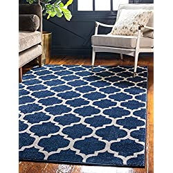Unique Loom Trellis Collection Moroccan Lattice Dark Blue Area Rug (2' x 3')