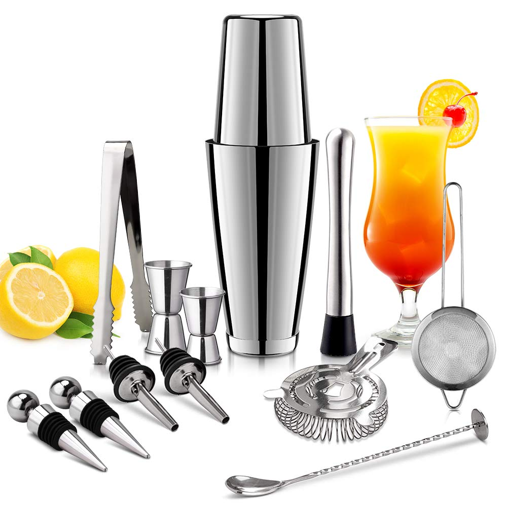 Bartender Kit Expert Cocktail Shaker Set - 13 Piece Stainless Steel Drink Mixing Set with Unweighted/Weighted Boston Shaker for Home Bar