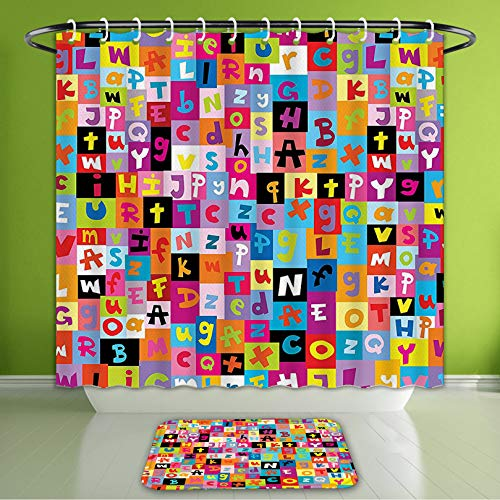 Waterproof Shower Curtain and Bath Rug Set Abstract Colored Alphabet Letters Pattern Education School Puzzle Children GRAP Bath Curtain and Doormat Suit for Bathroom Extra Wide Size 78