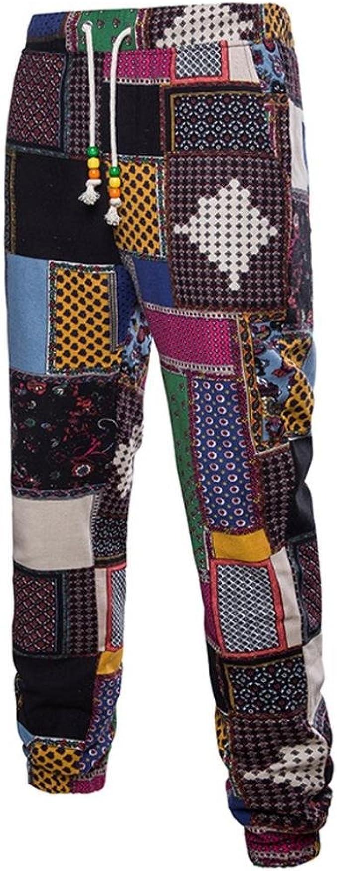 Pantalon QinMM Hommes Impression Chemisier Haut D/écontract/ée Longue Manche Chemise Entreprise Svelte Forme Motif Vent National Bande Boutons