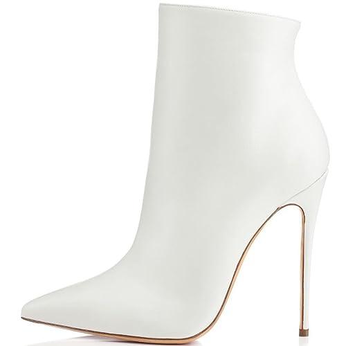 ELASHE Botines para Mujer | 10cm Zapatos de tacón | Botines de tacón Alto Botas con Cremallera: Amazon.es: Zapatos y complementos