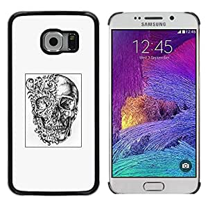 Eason Shop / Hard Slim Snap-On Case Cover Shell - Abstract Deep White Black Poster Skull - For Samsung Galaxy S6 EDGE SM-G925