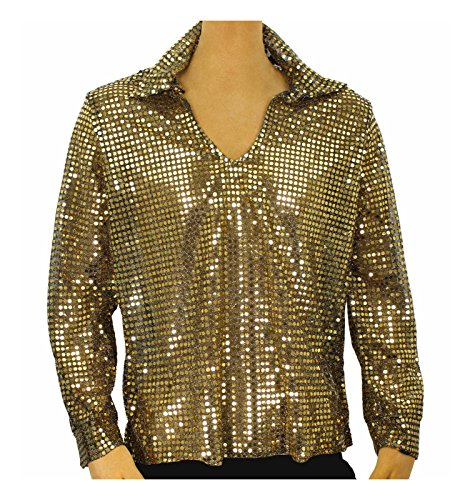 [Men's Sequin Disco Shirt (X-Large, Gold)] (Edc Costumes Men)