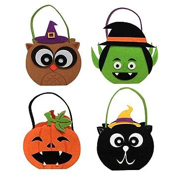 1 cesta para Halloween, diseño de búho, gato, calabaza, ghost, caramelo
