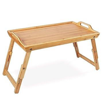 Homfa Bandeja bambú plegable para comida Mesa Comida Soporte bambú para cama 50x31.3x(