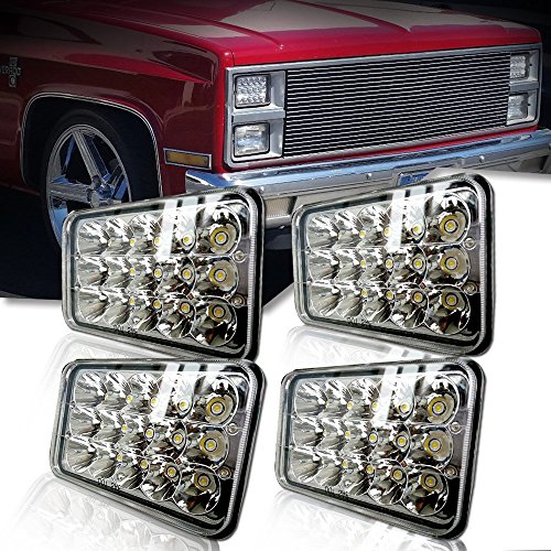 (4pcs) Dot approved 4x6 inch LED Headlights Rectangular Replacement H4651 H4652 H4656 H4666 H6545 for Peterbil Kenworth Freightinger Ford Probe Chevrolet Oldsmobile Cutlass ()