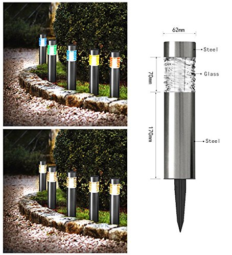Color Changing Solar Powered Stainless Steel Landscape La...