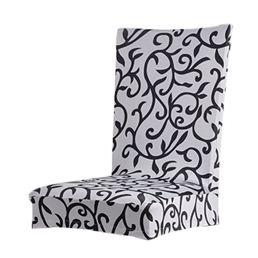 M-G-X Dining Chair Cover sfoderabile con stampa floreale elasticizzata (burgundy+black)