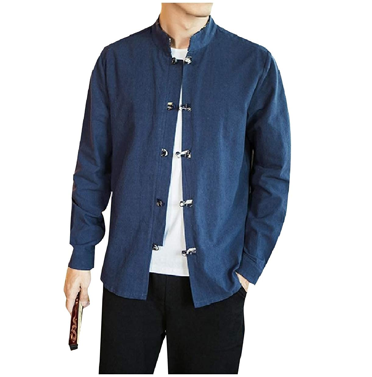 Abetteric Mens Retro Tang Suit Slim Long Sleeve Chinese Style Shirt Tops