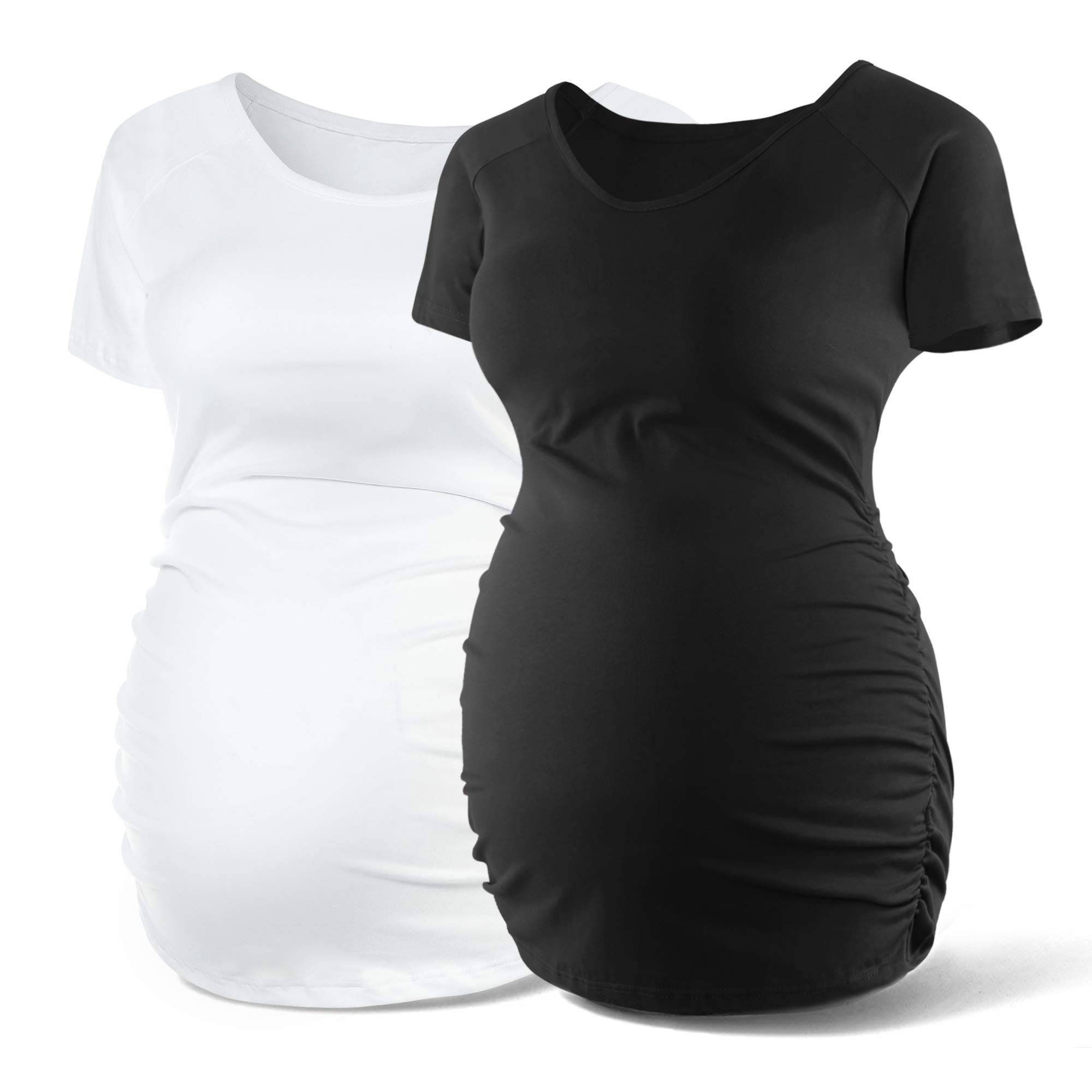 SUNNYBUY Women Crew Neck Maternity Shirt Short Sleeve Maternity Tops Pregnancy Shirts Ruched Tee Cute (Black White-M) by SUNNYBUY