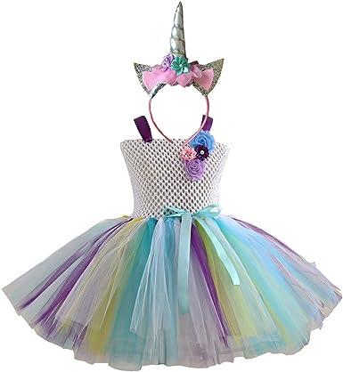 DIXIUZA Disfraz para Niñas Princesa Diadema Unicornio Floral con ...
