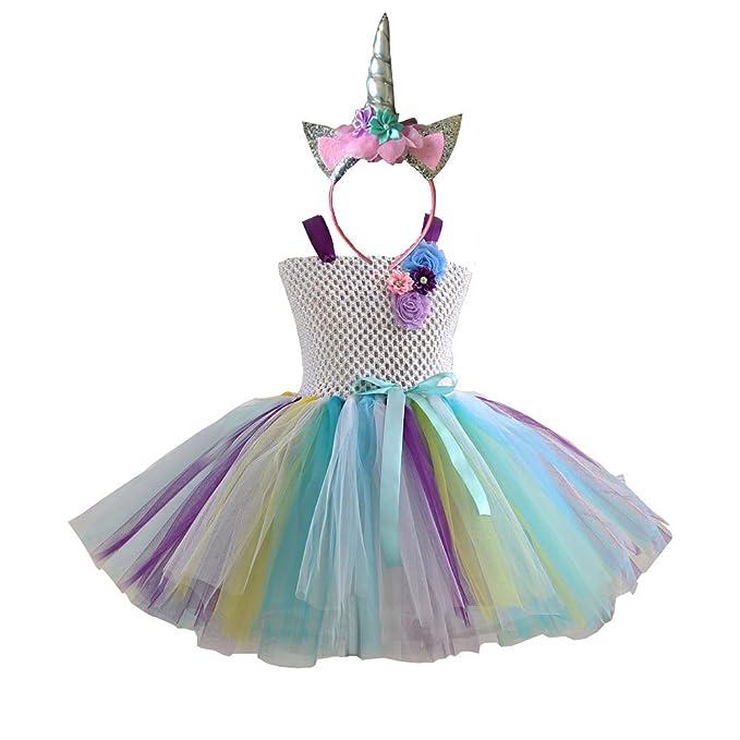 66fdbdabf Conjunto de disfraz de arcoíris para niñas, vestidos de ballet y diadema de  unicornio para