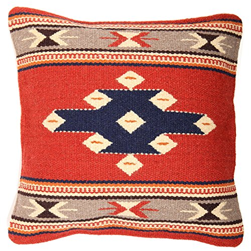 El Paso Designs Throw Pillow Covers, 18 X 18, Hand Woven in Southwest and Native American Styles. Hand Crafted Western Decorative Pillow Cases in Wool. (Mirage 2) - Pillow Wool Square