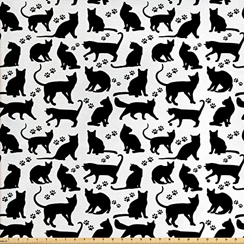 Ambesonne Cat Fabric by The Yard, Black Silhouettes in Different Positions Friendly Furry Feline Domestic Pet Figures, Decorative Fabric for Upholstery and Home Accents, Black White ()