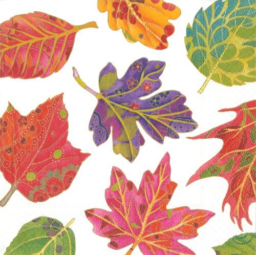 Luncheon Napkins Dessert Napkins Fall Decor Paper Napkins Party Napkins Jeweled Leaves Ivory 40 Pc by Caspari