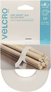 VELCRO Brand - ONE WRAP Ties for Cables, Wires and Cords, 12ft x 3/4in Roll, White