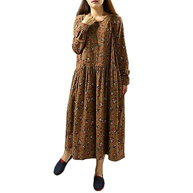 Resplend Rundhals Maxikleid Frauen Langarm Blumendruck Kleid gbf7vyI6Y