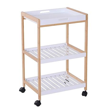 HOMCOM 3-Tier Mobile Kitchen Trolley Cart Bamboo Storage Shelves Rack  Rolling Wheels White 46 x 35 x 74.5 cm