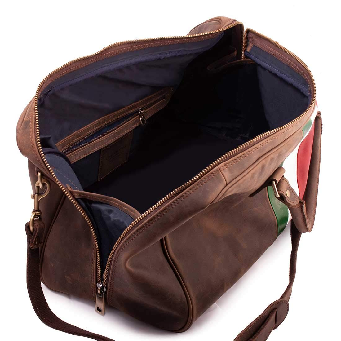 MICHELANGELO Genuine Leather Calf-Skin Italy Lepanto Travel Bag in Vintage Leather 55x28 H31 cm BROWN