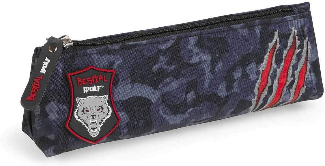 Dis2 - Estuche pequeño plano bestial wolf negro: Amazon.es: Oficina y papelería