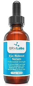 Eye Reboot Serum with 6% Caffeine, Hyaluronic Acid, Rosehip Oil, Retinol, Niacinamide & Folic Acid - Reduces Puffiness, Dark Circles, Crow Feet, Wrinkles and Fine Lines Around the Eyes - 1 oz / 30 ml
