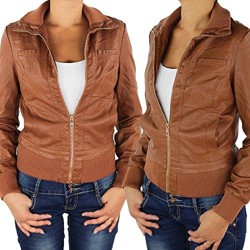 809all Chaqueta de piel sintética para mujer, biker marrón