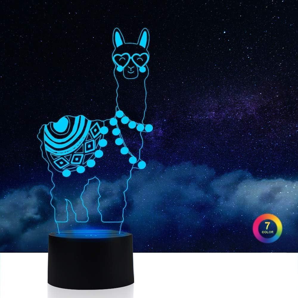 Alpaca Llama Light, AZIMOM 3D Illusion Lamp Night Light 7 Colors Changing Smart Touch Sensor Switch Night Light for Boys Bedroom Bedside Room Decor Home Decoration Kids Boys Girls Women Birthday Gift