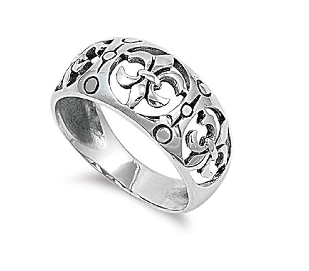 Princess Kylie 925 Sterling Silver Eternity Fleur De Lis Design Ring