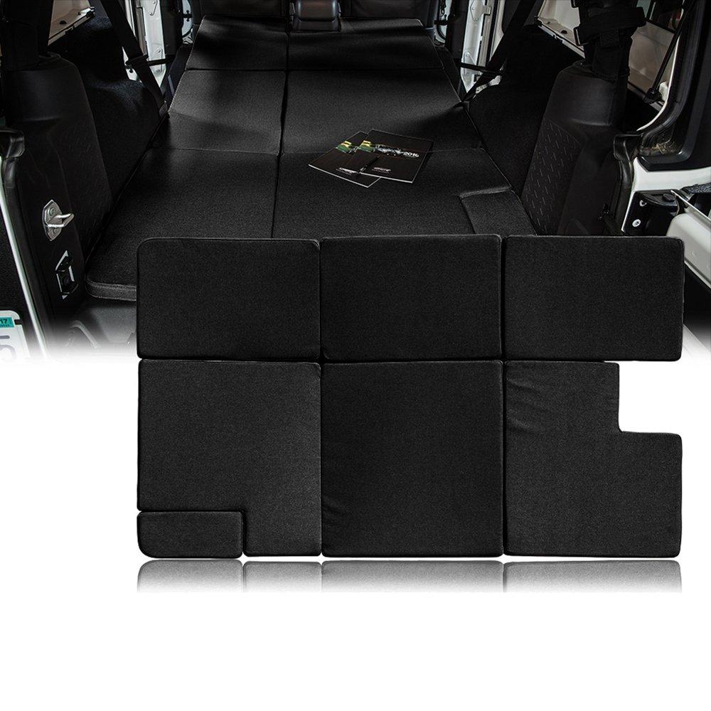 Xprite Black Jeep Wrangler JKU 2007-2018 Sleeping Mattress Camping Pad Bed Platform, NitePad Sand Premium 1.5-inch Thick Portable Trunk Cushion