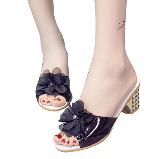 ad4cb54115d BSGSH Women s Fashion Summer Sandals - Flower Clear Strappy Block Chunky  High Heel Open Peep Toe