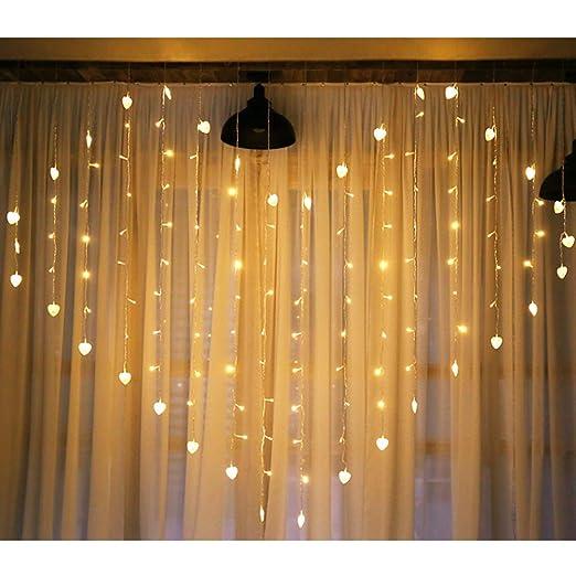 Rideau de fenêtre à LED en forme de cœur blanc chaud suspendu - Alimenté  par piles ou port USB pour fête de mariage