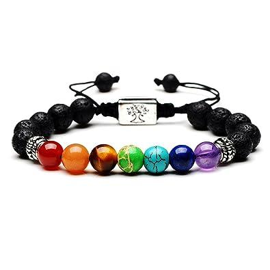 Bracelet tressé en corde tressée avec pierres de lave et pierres des 7 chakras 8mm, unisexe, noir