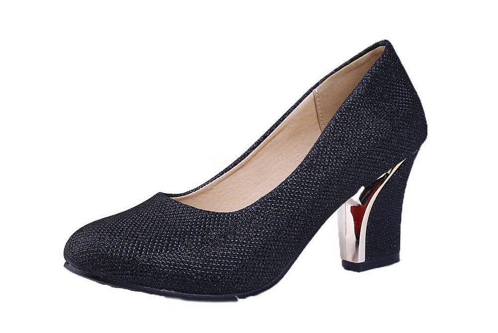 AalarDom Women's Round-Toe Kitten-Heels Sequins Solid Court Shoes, Black, 41