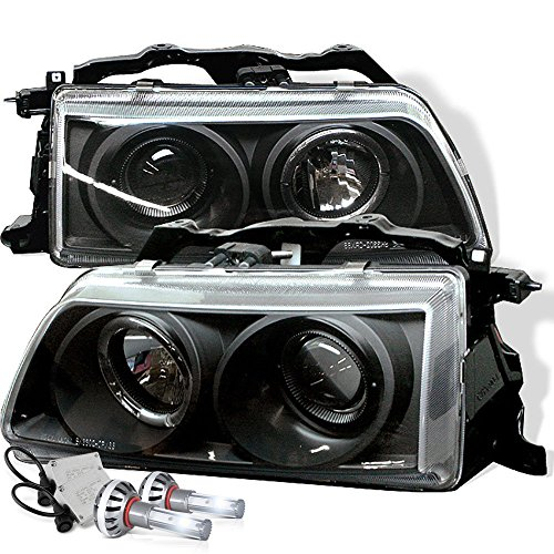 (VIPMOTOZ LED Halo Ring Black Projector Headlight Lamp Assembly For 1990-1991 Honda Civic - Built-In CSP LED Low Beam, Driver & Passenger Side )