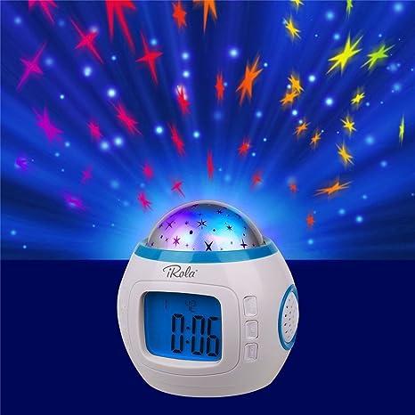 GTT Proyección LED Pequeño reloj despertador - Calmante Night Star Proyector digital Reloj despertador digital - Reproductor de ...