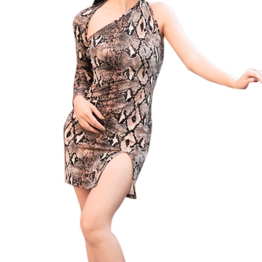 TIREOW Kleid Sexy Damen Damenmode Hohl Snake Print Bodycon Mini Partykleid