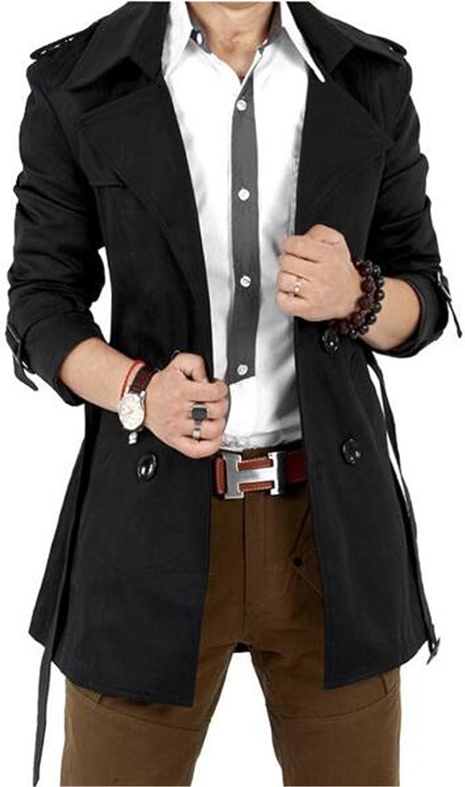 Men/'s Woolen Jacket Trench Coat Double Breasted Slim Fit Windbreaker Outwear New