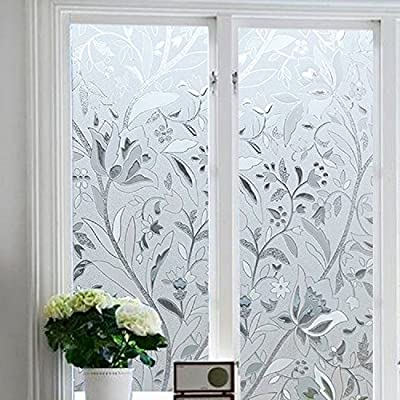 Bloss Etched Glass Window Film Premium No-Glue 3D Static Decorative Privacy Window Films, 17.7-by-78.7 Inch, 1 Roll