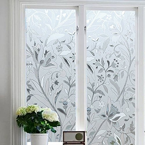 Bloss Vinyl Etched Flowers Static Decorative Frosted Privacy Window Films for Glass (17.7-by-78.7 - Tint Glass Left