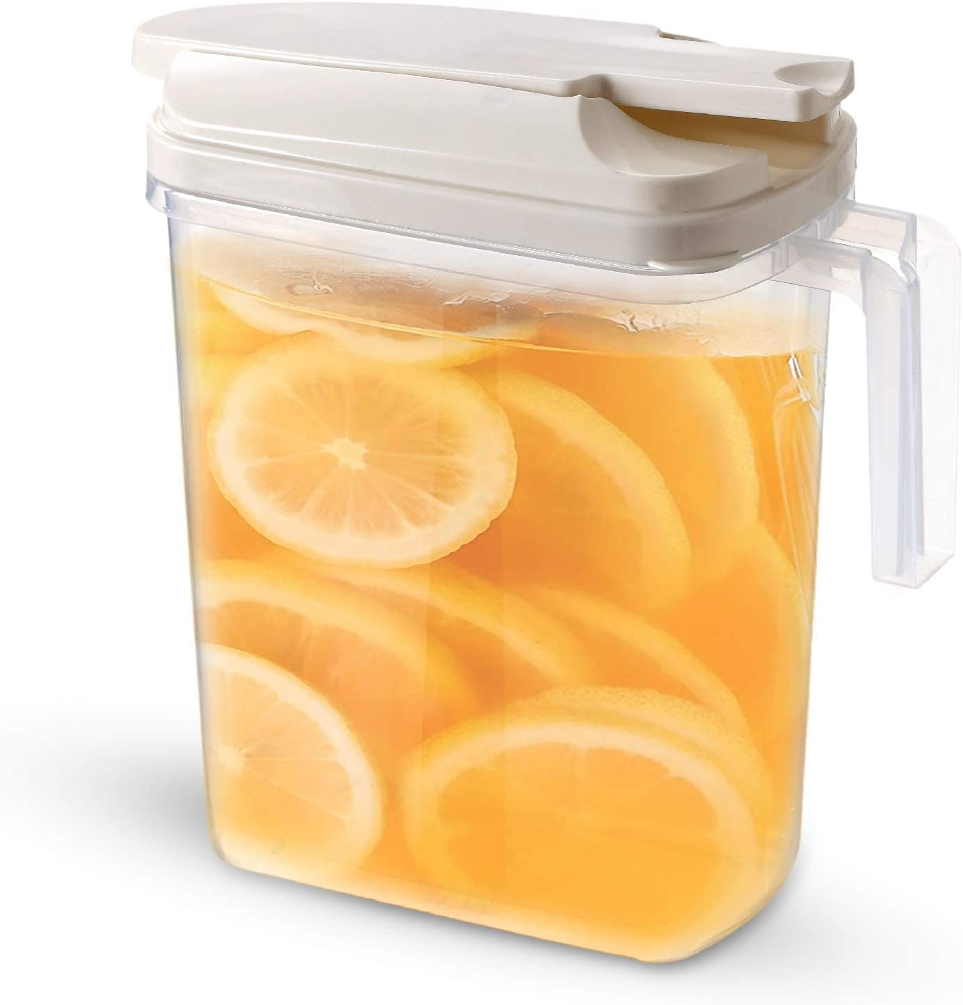 Large Pour Airtight plastic drink Pitcher jar with Locking Spout lid and Handle. Water Coffee, lemonade, iced Tea & juice 67oz/2 Quart/half gallon. Detachable Top. Slim design. Safer than glass. Jarra