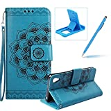 Rope Leather Case for Sony Xperia XA1 Ultra,Strap Wallet Case for Sony Xperia XA1 Ultra,Herzzer Bookstyle Classic Elegant Mandala Flower Pattern Stand Magnetic Smart Leather Case with Soft Inner for Sony Xperia XA1 Ultra + 1 x Free Blue Cellphone Kickstand