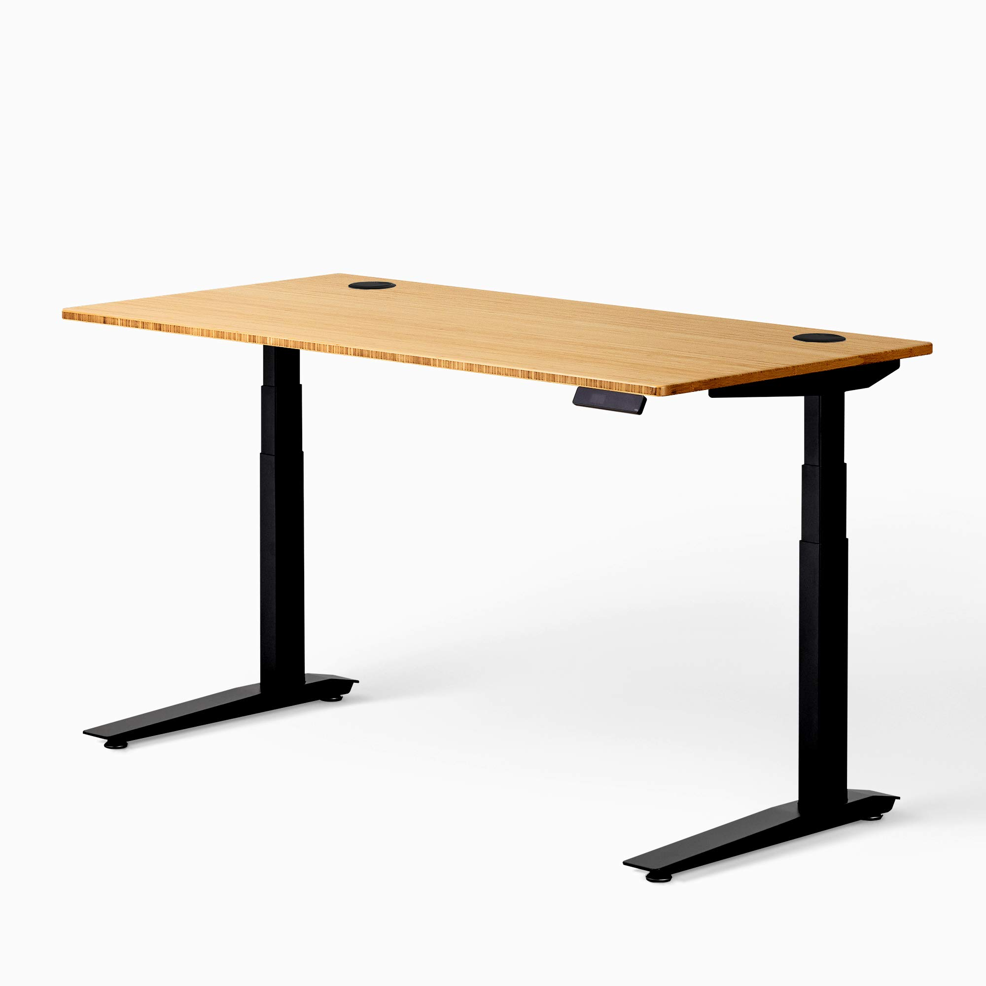 "Fully Jarvis Standing Desk 60"" x 30"" Bamboo Top - Electric Adjustable Desk Height from 25.5"" to 51"" with Memory Preset Controller (Rectangle, Black Frame)"