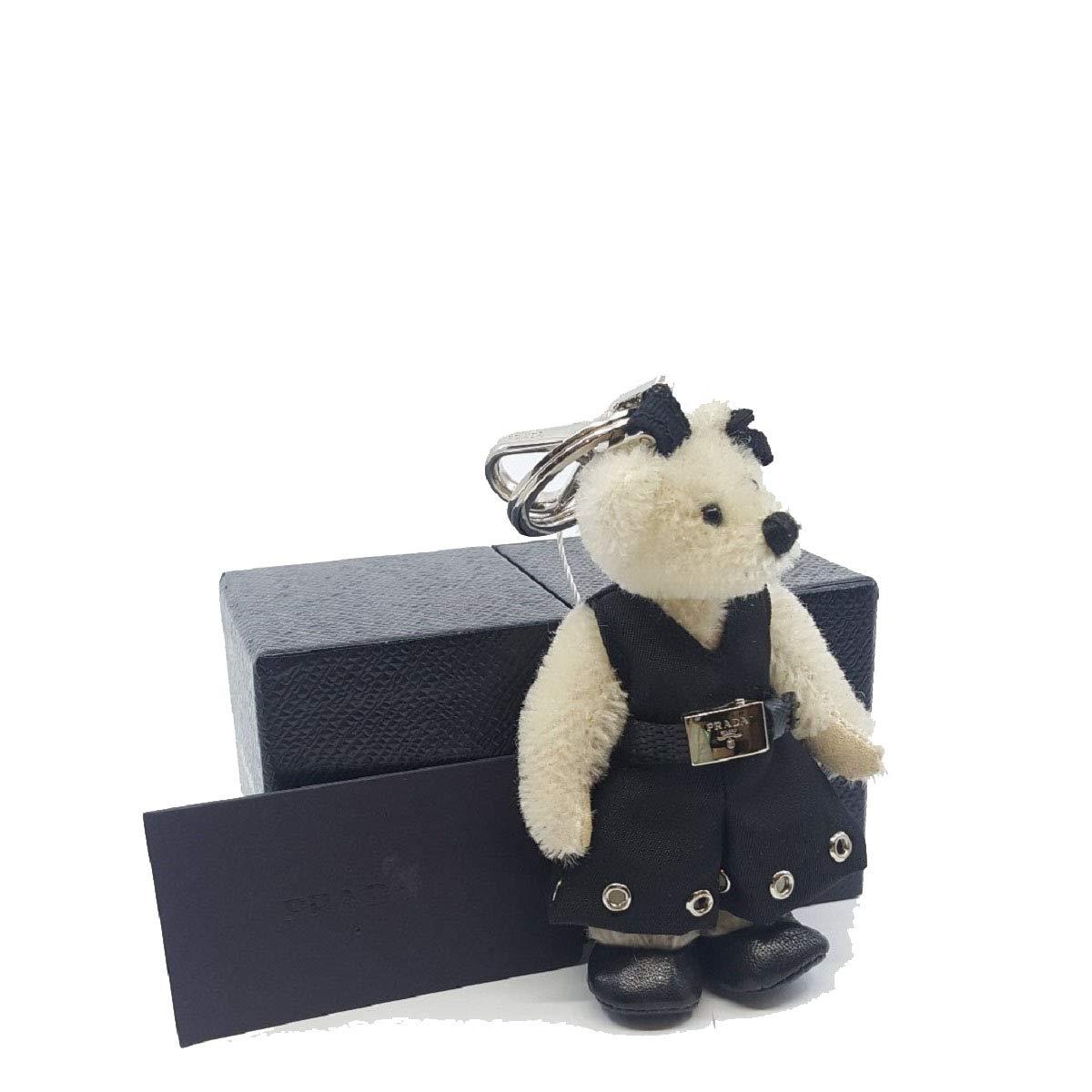 Prada Trick Orsetto Marlene Teddy Bear Keyring Riveted Dress and Belt Bianco 1TO027