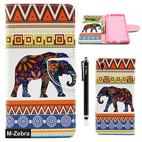SONY Z4 Case, SONY XPERIA Z4 Case, M-Zebra SONY XPERIA Z4 Wallet Case [Wallet Function] Flip Cover Leather Case for SONY XPERIA Z4, with Screen Protectors+Stylus+Cleaning Cloth (Elephant)