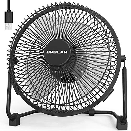 OPOLAR 9 inch USB Desk Fan, USB Powered ONLY (No Battery), Enhanced Airflow, Lower Noise, Two Speeds, Perfect Personal Cooling Fan for Home Office ()