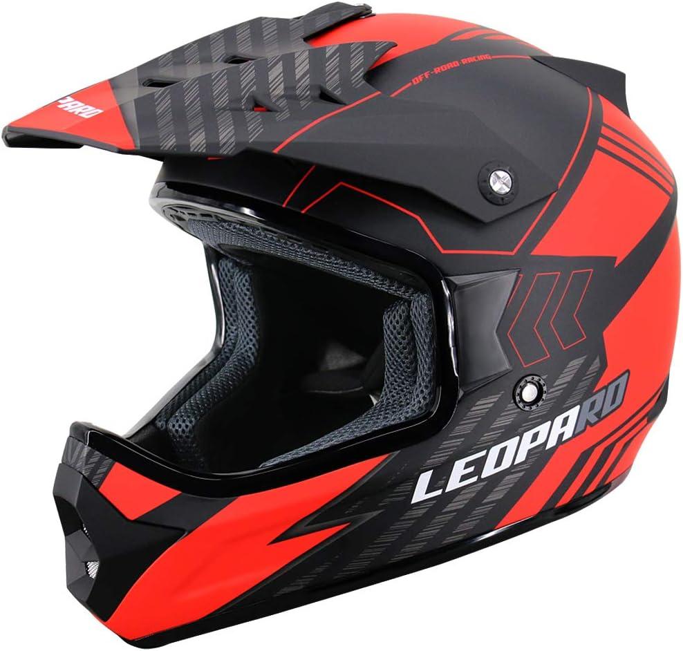 9cm Leopard LEO-X307 Motocrosshelme Integralhelm Motorradhelm Matt Schwarz M + Schutzbrillen ECE Genehmigt 57-58cm + Erwachsene Motocross Handschuhe